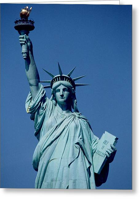 City Scenes Paintings Greeting Cards - The Statue of Liberty Greeting Card by American School