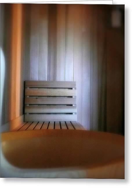 Sauna Greeting Cards - The Steam Room Greeting Card by Lori Seaman