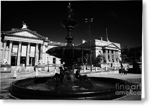 Centre Court Greeting Cards - The Steble Fountain Walker Art Gallery And County Sessions Court Buildings On William Brown Street Greeting Card by Joe Fox