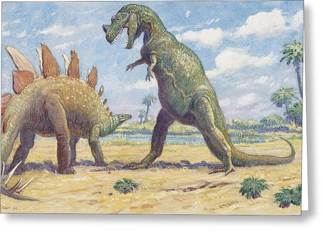 National Geographic Society Art Greeting Cards - The Stegosaurus Has Armor To Protect Greeting Card by Charles R. Knight