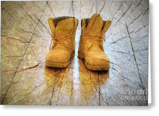 Leather Boots Greeting Cards - The Stomp Greeting Card by Donald Davis