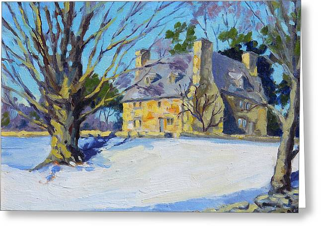 Stone House Paintings Greeting Cards - The Stone House Greeting Card by Chris Coyne