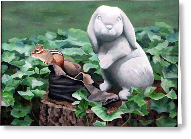 Sandra Chase Paintings Greeting Cards - The Stone Rabbit Greeting Card by Sandra Chase