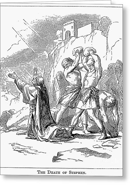 Early Christianity Greeting Cards - The Stoning Of St. Stephen Greeting Card by Granger