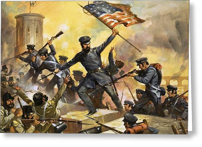 The General Lee Paintings Greeting Cards - The storming of the fortress at Chapultec Greeting Card by English School