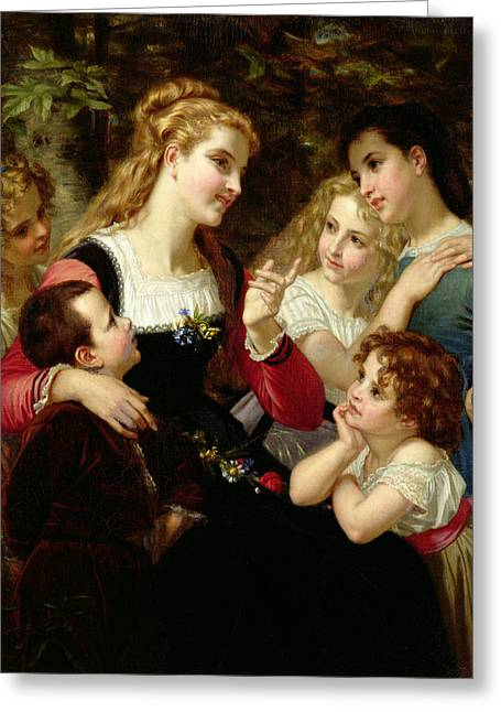Grande Paintings Greeting Cards - The Storyteller Greeting Card by Hugues Merle