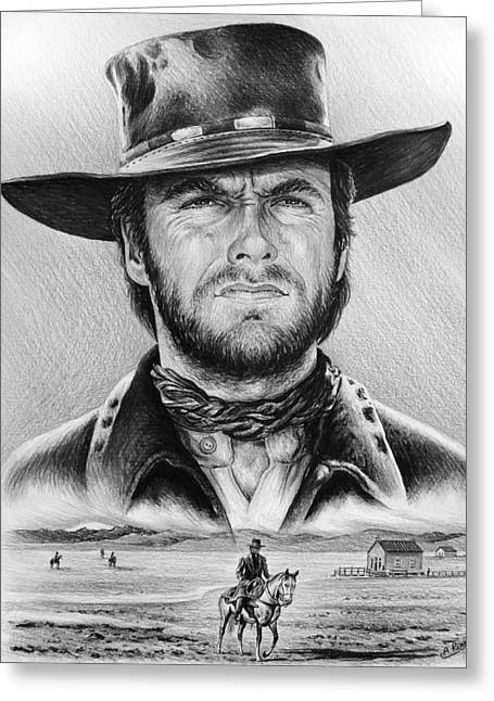 American Cowboy Artist Greeting Cards - The Stranger bw 2 version Greeting Card by Andrew Read