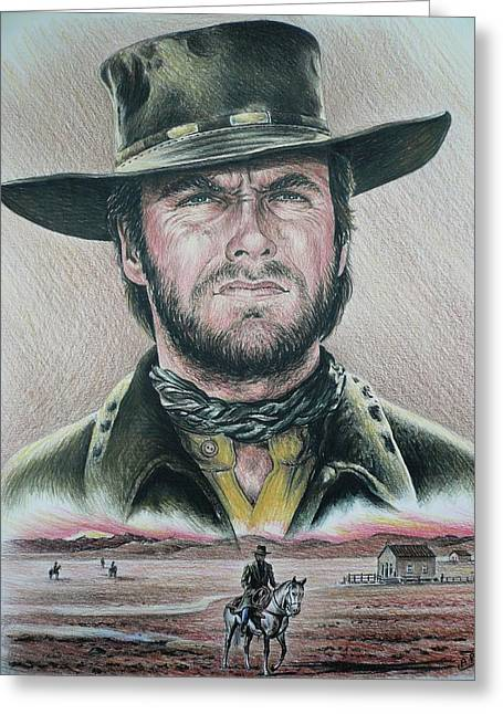 Cowboy Pencil Drawings Greeting Cards - The Stranger  Coloured pencil version Greeting Card by Andrew Read