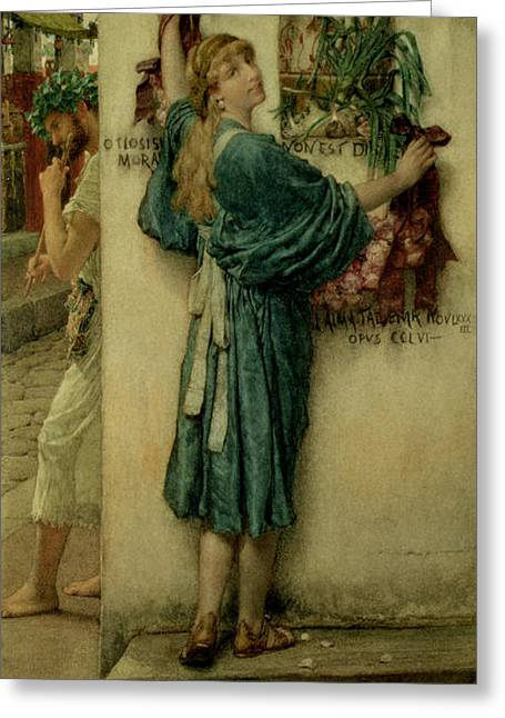 Urbam Greeting Cards - The Street Altar Greeting Card by Sir Lawrence Alma-Tadema