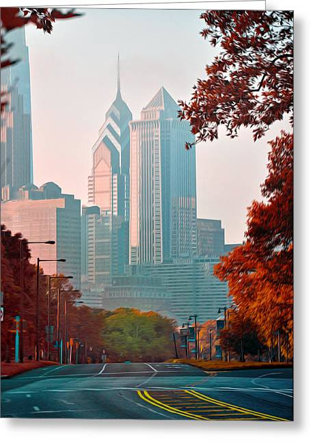 Liberty Place Greeting Cards - The Streets of Philadelphia Greeting Card by Bill Cannon