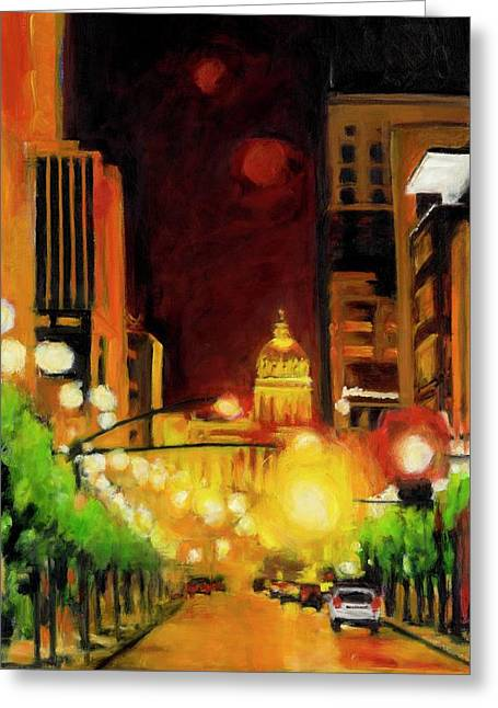 Des Moines Greeting Cards - The Streets Run with Crimson and Gold Greeting Card by Robert Reeves