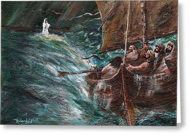 Jesus Walking On Water Greeting Cards - The Struggle Greeting Card by George Richardson