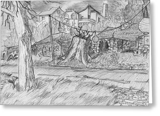 Dilapidated Drawings Greeting Cards - The Stump Greeting Card by Jonathan Armes