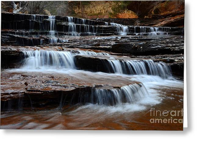 Hike The Subway Greeting Cards -  Waterfall North Creek Zion National Park Greeting Card by Bob Christopher
