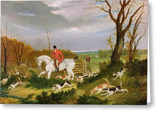 Red Coats Greeting Cards - The Suffolk Hunt - Going to Cover near Herringswell Greeting Card by John Frederick Herring Snr