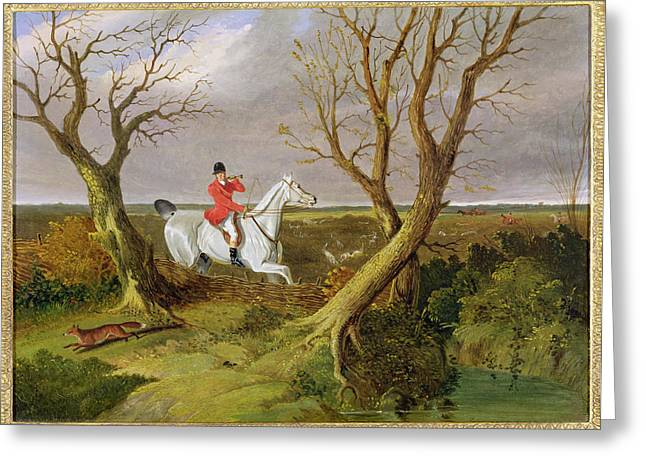 Red Coats Greeting Cards - The Suffolk Hunt - Gone Away Greeting Card by John Frederick Herring Snr