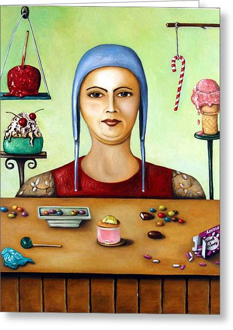 Candy Apples Greeting Cards - The Sugar Addict Greeting Card by Leah Saulnier The Painting Maniac