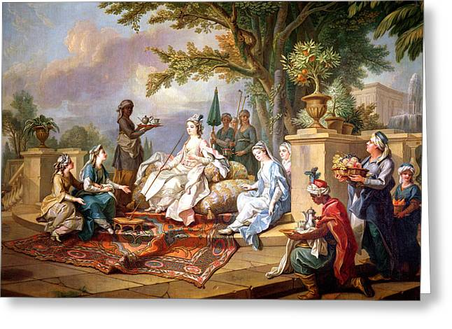Recently Sold -  - Slaves Greeting Cards - The Sultana Served by her Eunuchs Greeting Card by Charles Amedee Philippe van Loo
