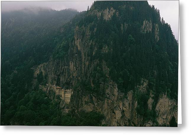 The Sumela Monastery Clings To Mountain Greeting Card by Randy Olson