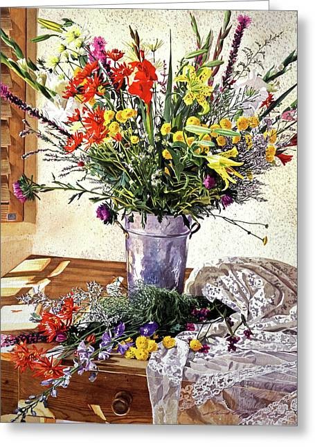 Table Top Still Life Greeting Cards - The Summer Room Greeting Card by David Lloyd Glover