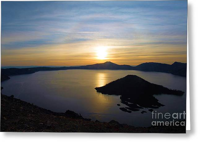 Crater Lake Sunset Greeting Cards - The Sun And The Wizard Greeting Card by Adam Jewell