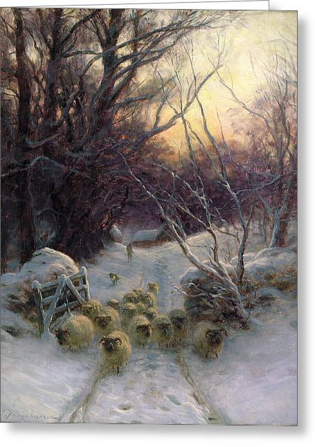 Snowfall Greeting Cards - The Sun had closed the Winter Day Greeting Card by Joseph Farquharson