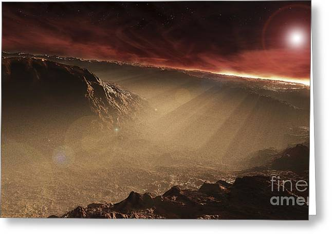 Rendition Greeting Cards - The Sun Rises Over Gale Crater, Mars Greeting Card by Steven Hobbs