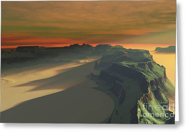 Creativity Desert Greeting Cards - The Sun Sets On This Desert Landscape Greeting Card by Corey Ford