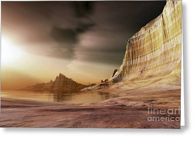 Creativity Desert Greeting Cards - The Sun Shines Down Upon A Lake Greeting Card by Corey Ford