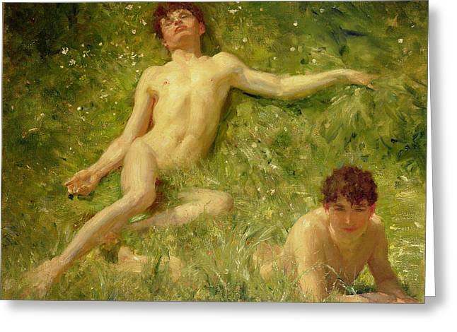 Looking In Greeting Cards - The Sunbathers Greeting Card by Henry Scott Tuke