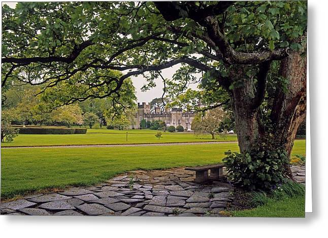 Garden Statuary Greeting Cards - The Sundial Terrace, Glin Castle, Co Greeting Card by The Irish Image Collection
