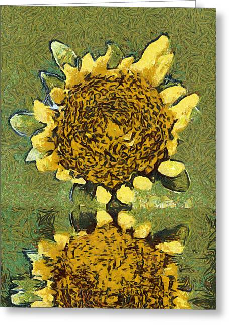 Sweating Paintings Greeting Cards - The sunflower reflection Greeting Card by Odon Czintos