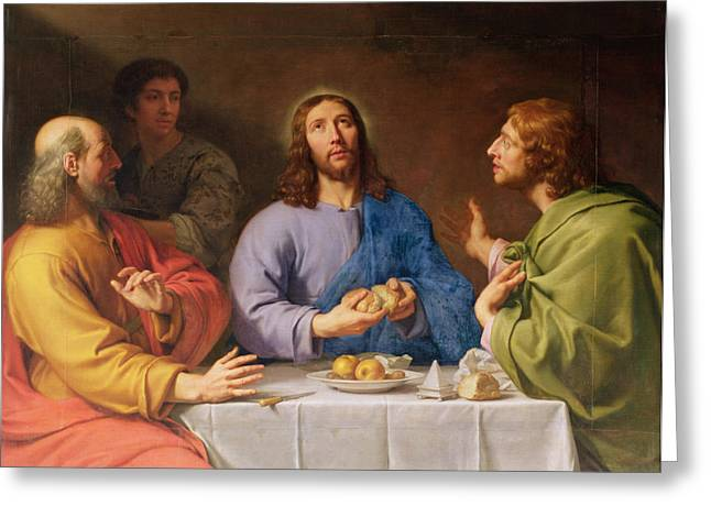 Emmaus Greeting Cards - The Supper at Emmaus Greeting Card by Philippe de Champaigne