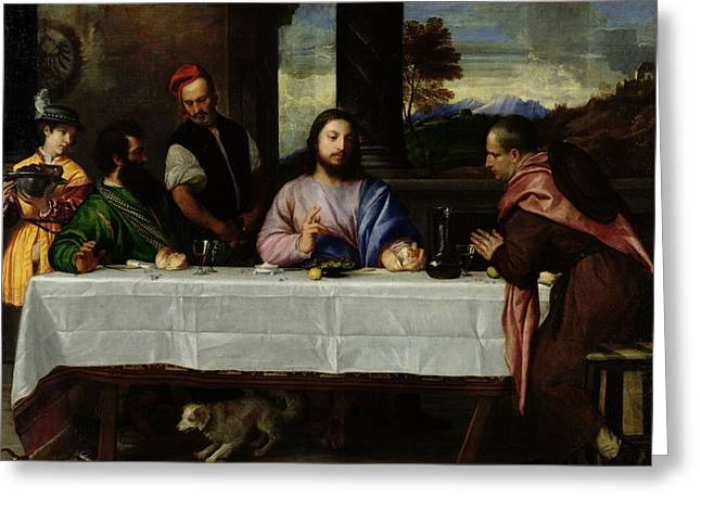 Emmaus Greeting Cards - The Supper at Emmaus Greeting Card by Titian