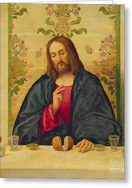 Jesus Christ Paintings Greeting Cards - The Supper at Emmaus Greeting Card by Vincenzo di Biaio Catena