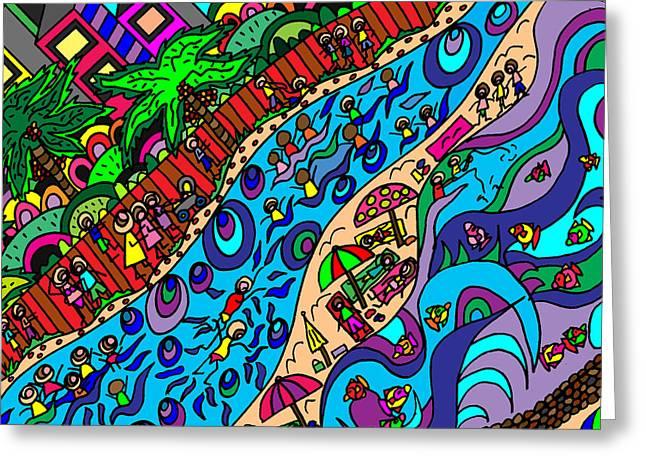 Karen Elzinga Mixed Media Greeting Cards - The surf comes in Greeting Card by Karen Elzinga