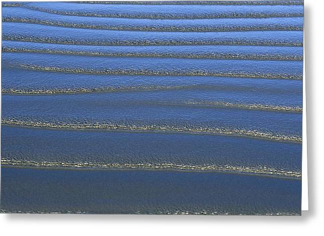 Sand Patterns Greeting Cards - The Surf Leaves A Pattern Of Ripples Greeting Card by Marc Moritsch