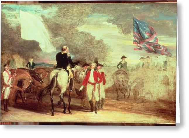Surrender Greeting Cards - The Surrender of Cornwallis at Yorktown Greeting Card by John Trumbull
