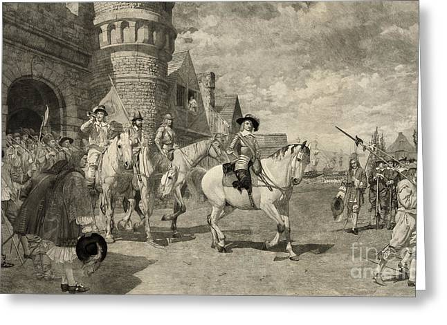 The Surrender Of New Amsterdam, 1664 Greeting Card by Photo Researchers