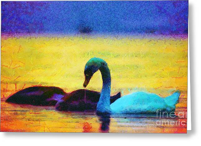 Sweating Greeting Cards - The swan family Greeting Card by Odon Czintos