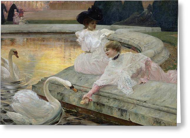 White Dress Paintings Greeting Cards - The Swans Greeting Card by Joseph Marius Avy