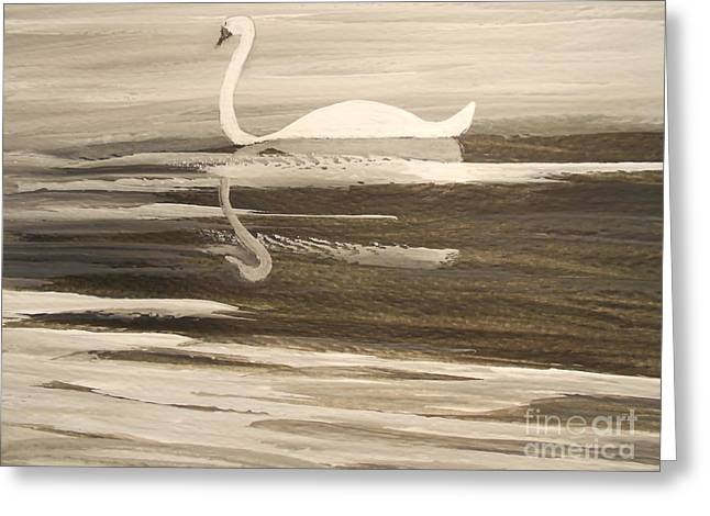 The Swans Song....melody Of Motherhood Greeting Card by Barbara McNeil