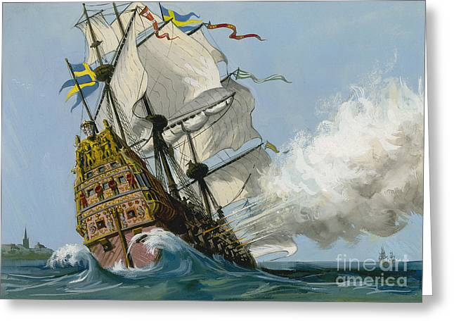 The Swedish Warship Vasa Greeting Card by Ralph Bruce