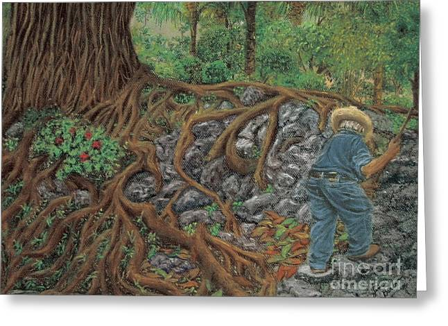 Tree Roots Pastels Greeting Cards - The Sweeper Greeting Card by Jim Barber Hove