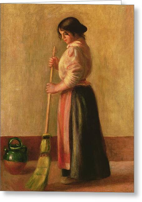 Pushing Greeting Cards - The Sweeper Greeting Card by Pierre Auguste Renoir