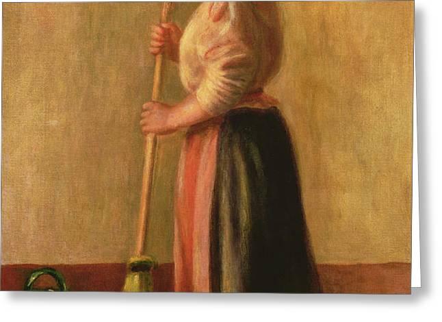 The Sweeper Greeting Card by Pierre Auguste Renoir