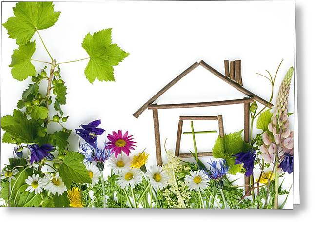 Green Day Greeting Cards - The sweet green dream home Greeting Card by Aleksandr Volkov