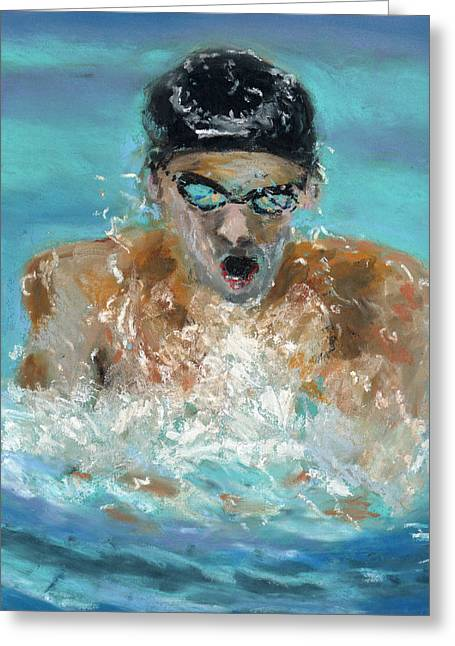 The Swimmer Greeting Card by Paul Mitchell