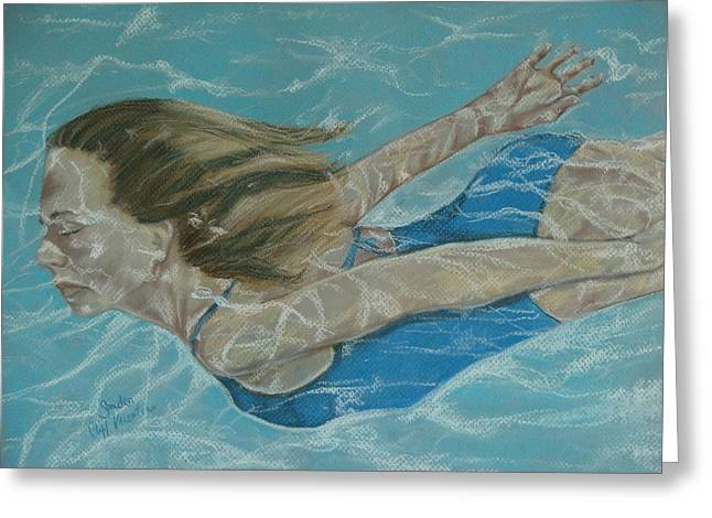 Suit Pastels Greeting Cards - The Swimmer Greeting Card by Sandra Valentini
