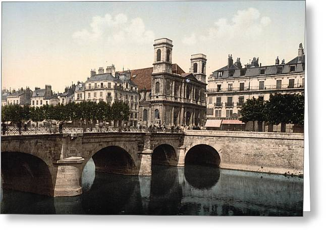 Madeleine Greeting Cards - The Swing Bridge and Madeleine Church in Besancon - Doubs - France Greeting Card by International  Images